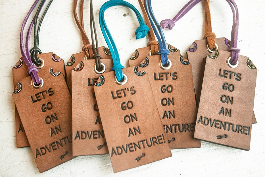Luggage Tags: Leather Luggage Tag Travel Themed Bag Tag Lets Go On An