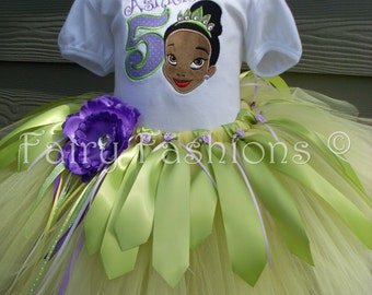 Custom Tutus..PRINCESS TIANA tutu set..size 3,6,9,12,18,24 months 2T,3T,4T,5T,6T years,costume...birthday tutu, frog,crown,applique