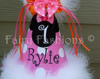 Custom Party Hats..MISS MOUSE CANDY... any color...any theme...Birthday hat...dress up... Princess hat