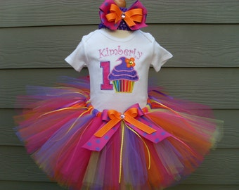 Custom tutus..CUPCAKE FESTIVAL tutu set..birthday, , size 3,6,9,12,18,24 months and 2T,3T,4T,5T,6 years,costume,dress up