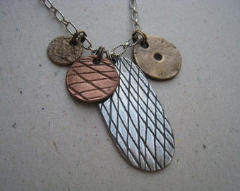 Artifact Inspired Gaming Pieces Mixed Metal Necklace on Sterling Silver Chain