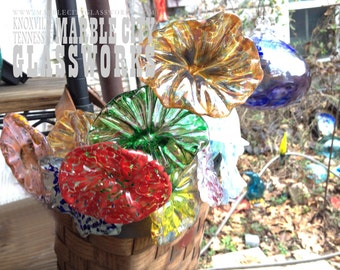 Mixed Set of 9 Assorted Glass Flowers - Garden Art - Planter Decorations - Party Favors