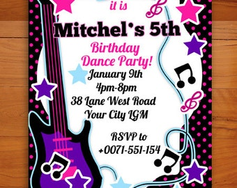 Musical Dance Neon Pink and Purple instruments Party Invitation Digital Printable PDF or JPG file