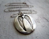 Guardian Angel Wing Necklace. Sterling Silver. Fine Silver Artisan Jewelry. Protection Symbol