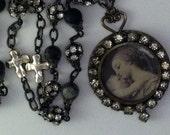 Madonna and Child Soldered Vintage Rhinestone Necklace