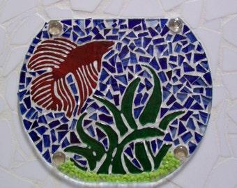 Mosaic Art, Fish Bowl, Mosaic Fused Glass, Beta Fish