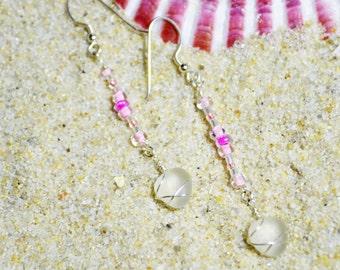 Swinging Genuine Sea Glass Earrings Beaded in Pinks Sterling Silver 4997