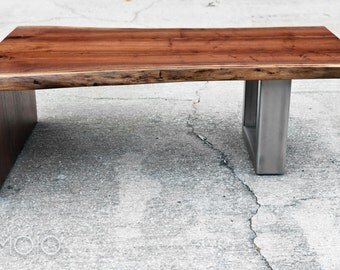 LIve Edge Walnut Coffee Table with Steel Base - Live Edge wood bench - Acero - Reclaimed Hardwood - Handmade in the USA - Modern decor