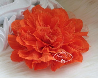 1 pc New Large Shabby Chic Frayed Wrinkled Cotton Voile and Tulle Rose Fabric Flower - ORANGE