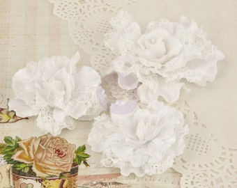 "NEW Prima Scarlett ""Vintage White"" 571382 Velvet Lace Rose Fabric Flowers Vintage Inspired Flower Appliques. HAir accessories, Hair Ornament"