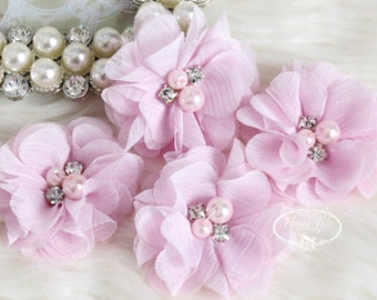 """NEW: 4 pcs Aubrey PALE PINK - 2"""" Soft Chiffon with pearls and rhinestones Mesh Layered Small Fabric Flowers, Hair accessories"""