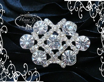 6 or 8 pcs - 34mm Silver Metal Crystal Rhinestone Buttons - wedding Invitation / Bouquet / hair / dress / garment accessories