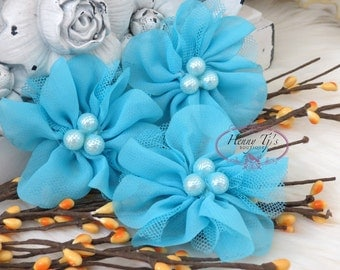 NEW: 4 pcs Lavinia TURQUOISE Soft Chiffon and Tulle w/ pearls Ruffled Fabric Flowers, Hair accessories. Headband Flowers. Scrapbooking.