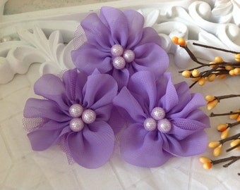 NEW: 4 pcs Lavinia LILAC Soft Chiffon and Tulle w/ pearls Ruffled Fabric Flowers, Hair accessories. Headband Flowers. Scrapbooking.