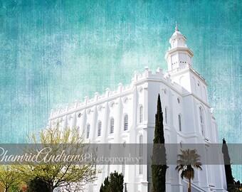 St. George Utah LDS Temple - Landscape Blue - Instant DIGITAL DOWNLOAD - Large Temple Print