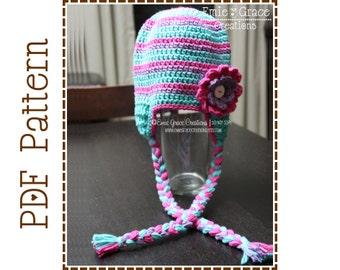 Crochet Ear Flap Hat Pattern, Stripe w/ Flower, GABBY - pdf 211