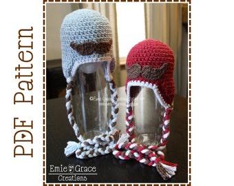 Mustache Hat Crochet Pattern, Hipster Ear Flap - LITTLE MAN - pdf 409