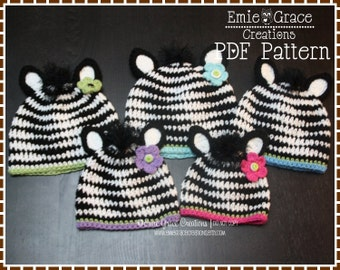 Zebra Hat Crochet Pattern, 8 Sizes from Newborn to Adult, ZOEY and ZANE ZEBRA - pdf 102