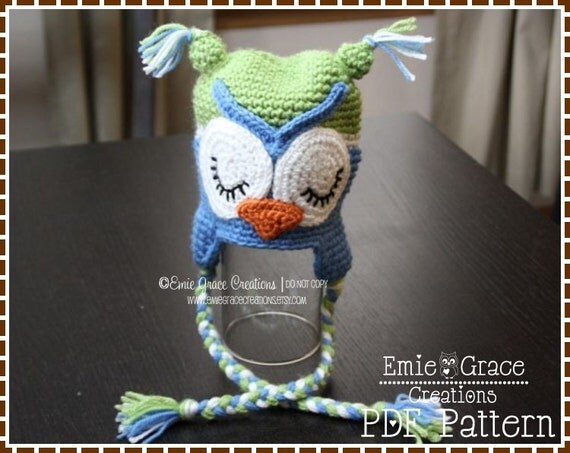 Owl Hat Crochet Pattern, 8 Sizes from Newborn to Adult,  WHAT - a - HOOT OWL - pdf 106