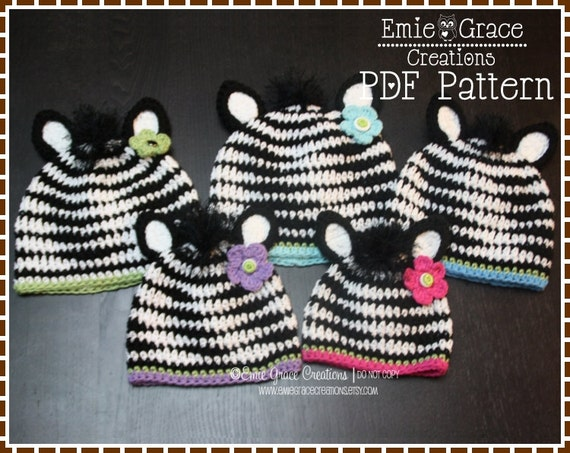 Crochet Pattern Zebra Hat : Zebra Hat Crochet Pattern 8 Sizes from Newborn to Adult ZOEY