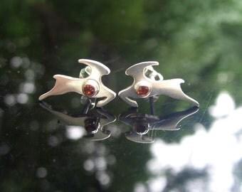 Sterling Silver Antelope Stud Earrings - With Gems