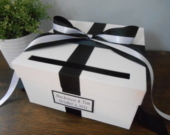 Custom Wedding Card Box Classic Black and White Wedding and Personalized Tag Can Customize Colors