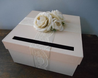 Champagne Wedding Card Box with Ivory Lace satin ribbon and Ivory Ranunculus can customize colors and flowers