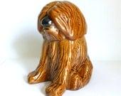 Vintage 1970's Brown Glazed Ceramic Sheepdog Cookie Jar Sheep Dog Pet