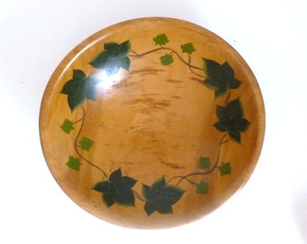 Mid Century 1950's Rio Grande Woodenware Hand Painted Ivy Pine Wood Serving Bowl