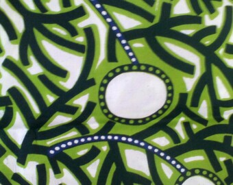 Dutch Wax Block Print VLA1574 Floral African Fabric Green and White