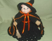 Pig Witch with Broom Renuzit Air Freshener Cover, Halloween, Handmade, Crochet