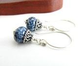 Sterling Silver Denim Glass Bead Earrings Artisan Glass and Silver Earrings Dainty Dangle Earrings