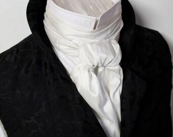 Extra LONG - REGENCY Brummel Victorian Ascot Tie Cravat - IVORY White Dupioni Silk