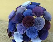 Purple Paper Flower Bridal Bouquet, Large Wedding Bouquet in Plum, Violet, Amethyst, Lavender