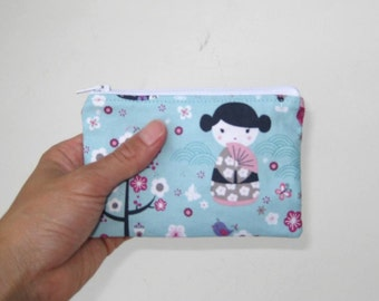 Small Zipper Pouch in Blue Japanese Dolls