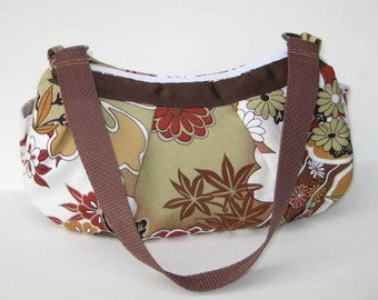 Small Pleated Shoulder Bag in Brown and Earth Tones Asian Print