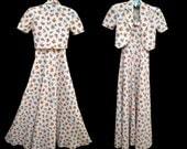 Vintage 30s Dress and Jacket // 1930sPique Cotton Print Dress Fruits and Flowers