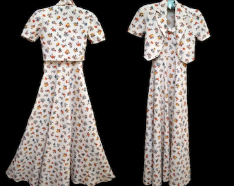 Vintage 30s Dress and Jacket // 1930sPique Cotton Print Dress Fruits and Flowers