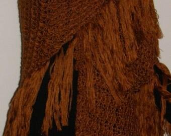 Hand Crocheted Chocolate Brown Shawl