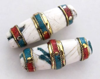 2 BEADS - Long heavy tribal conch shell focal pendant bead with turquoise coral brass inlay - CH030