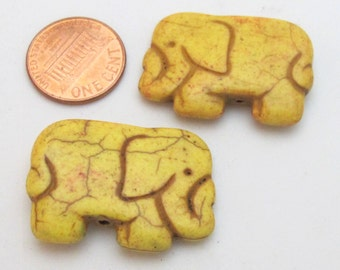 Yellow color howlite elephant shape bead pendant - 1 bead - GM242E