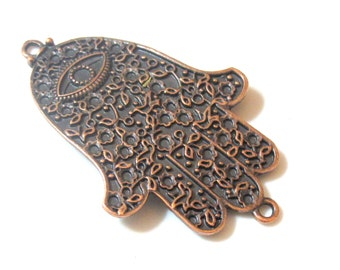 2 Pieces - Large size Rustic copper tone Hamsa Hand connector with evil eye floral design - BD462