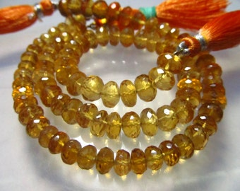 8 Inches - AAA - High Quality Natural - CITRINE - Micro Faceted Rondell Beads size 7 mm approx amazing Rare Quality