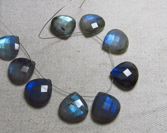 Brand New Items - 4 Matching Pair - Amazing Beautiful - LABRADORITE - Faceted Heart Briolett Full Flashy Fire Sparkle Huge Size 15 mm