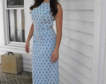 Formal Gown Sleeveless Blue White Vintage 60s Party Evening Dress S XS