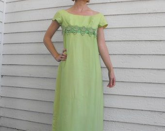 Vintage 60s Green Gown Party Dress Watteau Empire Long XS Petite