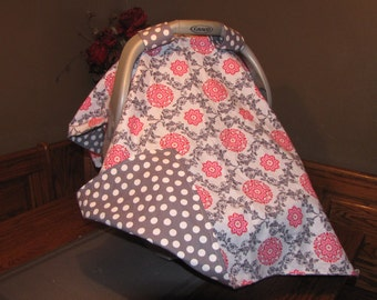 Limited quantity.  Baby Girl Carseat Canopy... Carseat Cover...Carseat Blanket.. Grey Polka Dot