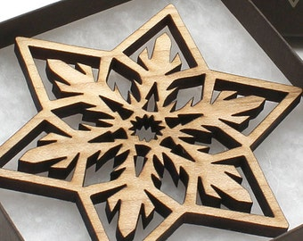 Wood Christmas Ornament Laser Cut Snowflake Design made from Wisconsin hardwoods - Timber Green Woods