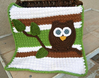 Owl Baby Blanket Lovey Size Baby Shower Green and Brown