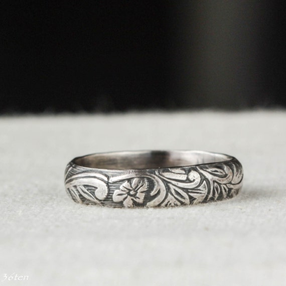 Unique Wedding band, Art Deco, Sterling Silver Ring